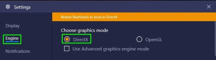 Change graphic mode to DirectX