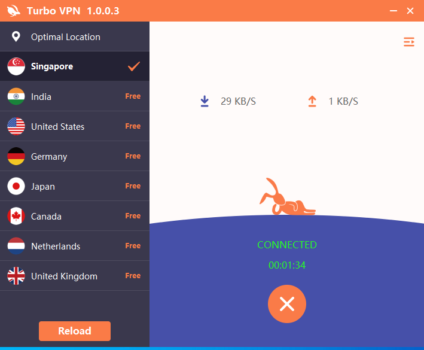 Connected to Turbo VPN