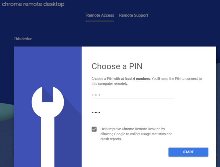 Setting pin on Chrome Remote Desktop
